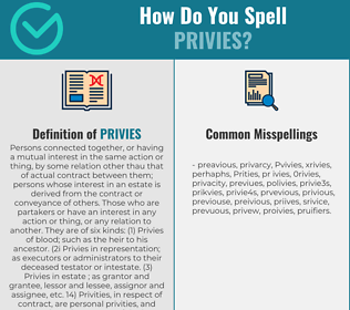 Correct spelling for Privies