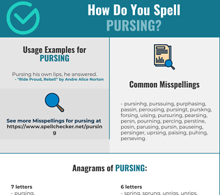 Correct spelling for Pursing