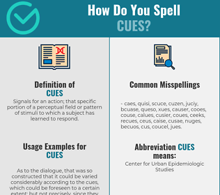 Correct spelling for Cues
