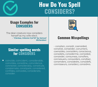Correct spelling for considers