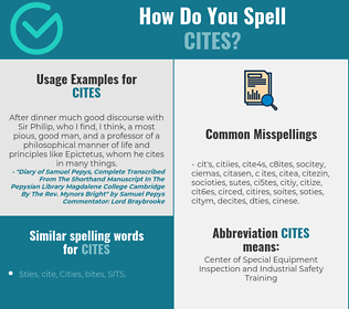 Correct spelling for cites