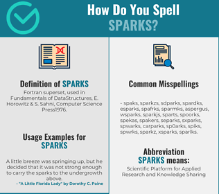 Correct spelling for sparks