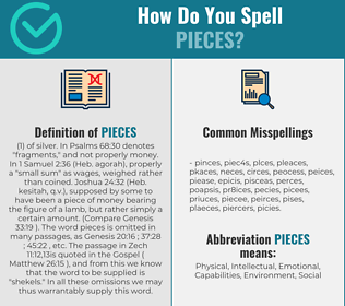 Correct spelling for pieces