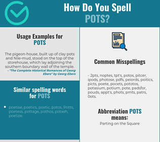 Correct spelling for pots