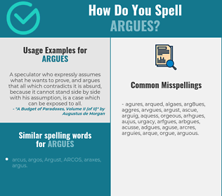Correct spelling for argues