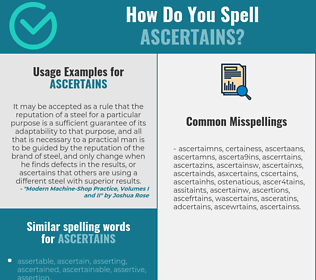 Correct spelling for ascertains
