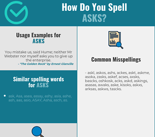 Correct spelling for asks