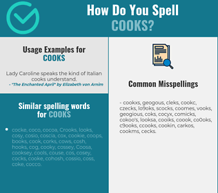 Correct spelling for cooks