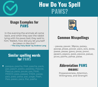 Correct spelling for paws