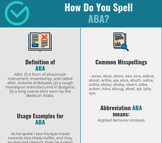 Correct spelling for aba