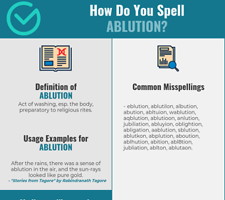 Correct spelling for ablution