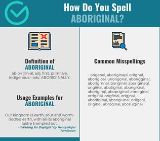 Correct spelling for aboriginal