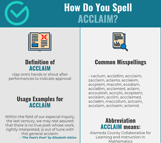 Correct spelling for acclaim