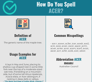 Correct spelling for acer
