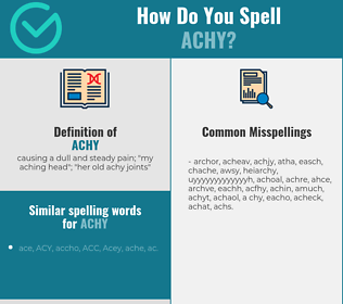Correct spelling for achy