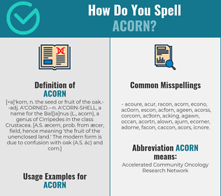 Correct spelling for acorn