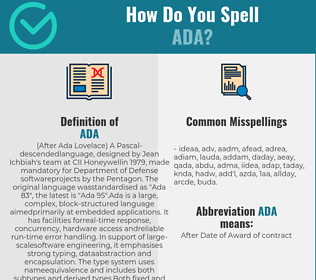 Correct spelling for ada