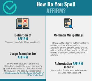 Correct spelling for affirm