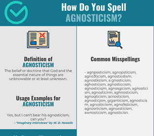 Correct spelling for agnosticism