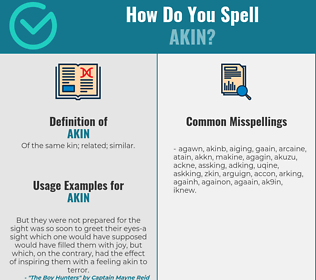 Correct spelling for akin