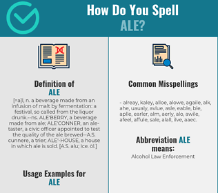 Correct spelling for ale