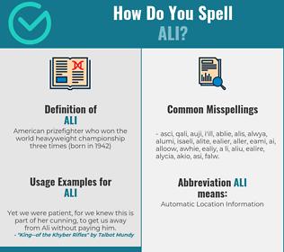 Correct spelling for ali