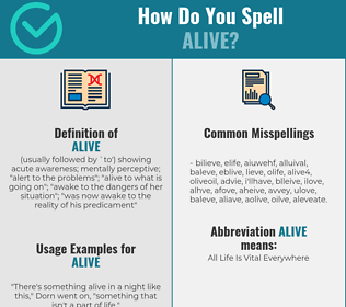Correct spelling for alive