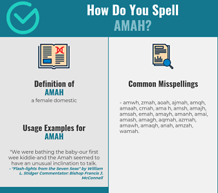 Correct spelling for amah