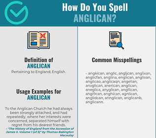 Correct spelling for anglican
