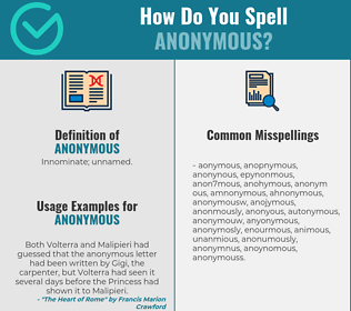 Correct spelling for anonymous