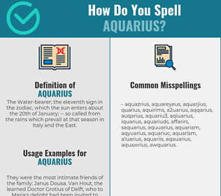 Correct spelling for aquarius
