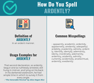 Correct spelling for ardently
