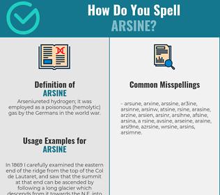 Correct spelling for arsine
