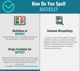 Correct spelling for article