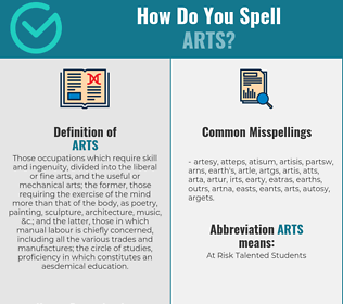 Correct spelling for arts