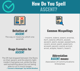 Correct spelling for ascent