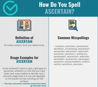 Correct spelling for ascertain