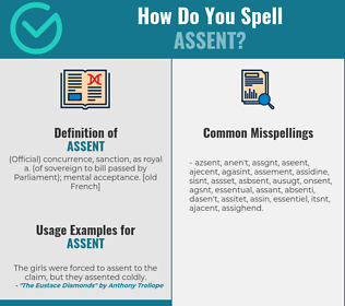 Correct spelling for assent