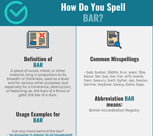Correct spelling for bar