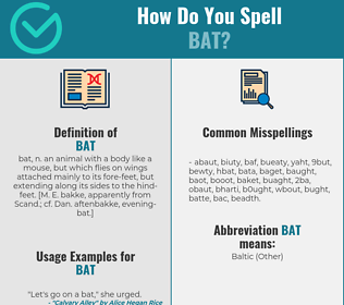 Correct spelling for bat