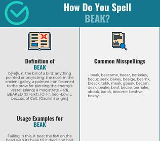 Correct spelling for beak