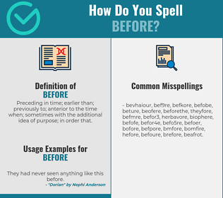 Correct spelling for before