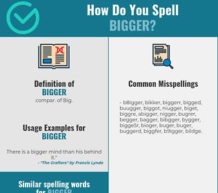 Correct spelling for bigger