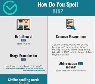 Correct spelling for bin