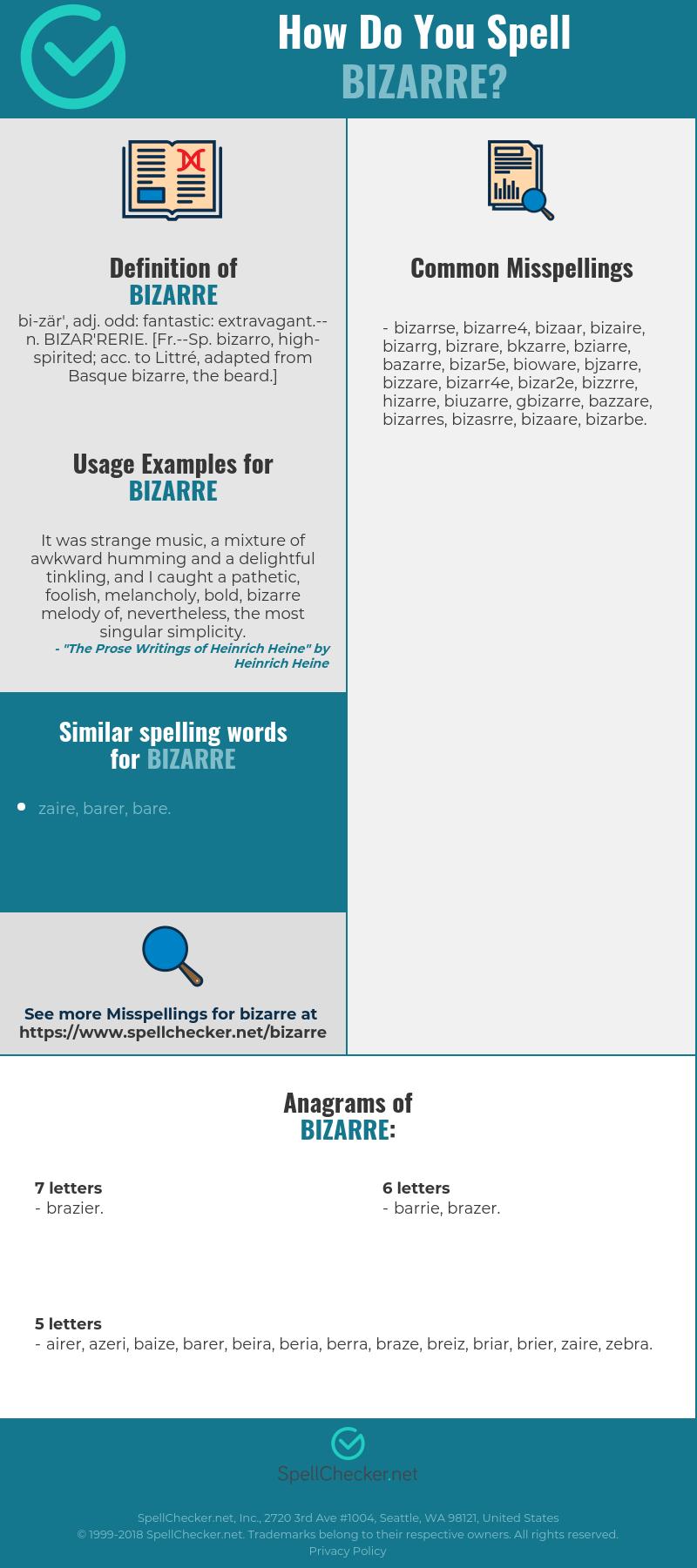 Correct spelling for bizarre [Infographic] | Spellchecker net