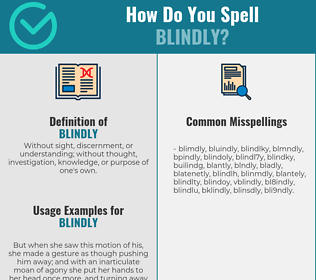 Correct spelling for blindly