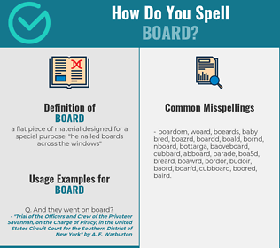 Correct spelling for board