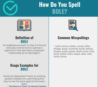 Correct spelling for bole