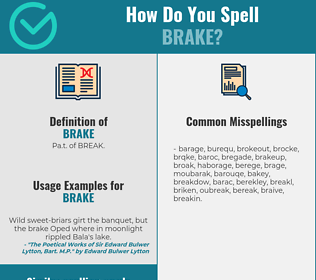 Correct spelling for brake