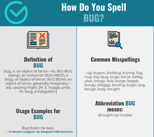 Correct spelling for bug
